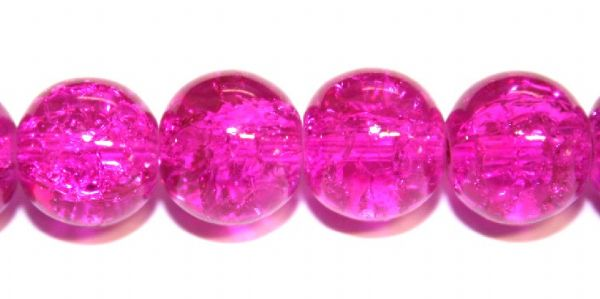 106pcs x 8mm Fuchsia pink glass crackled beads -- 3005030